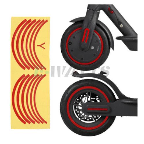 Stickers réfléchissants roues rouge Xiaomi m365, Pro, Pro 2